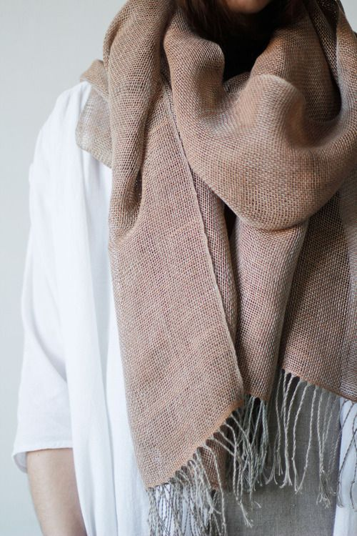 Basic scarf. Slow Fashion style. Minimalist, simple outfit for cold days.