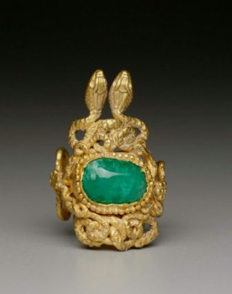Finger ring with snakes intertwined around an emerald. Greek, Hellenistic Period, 2nd century B.C.