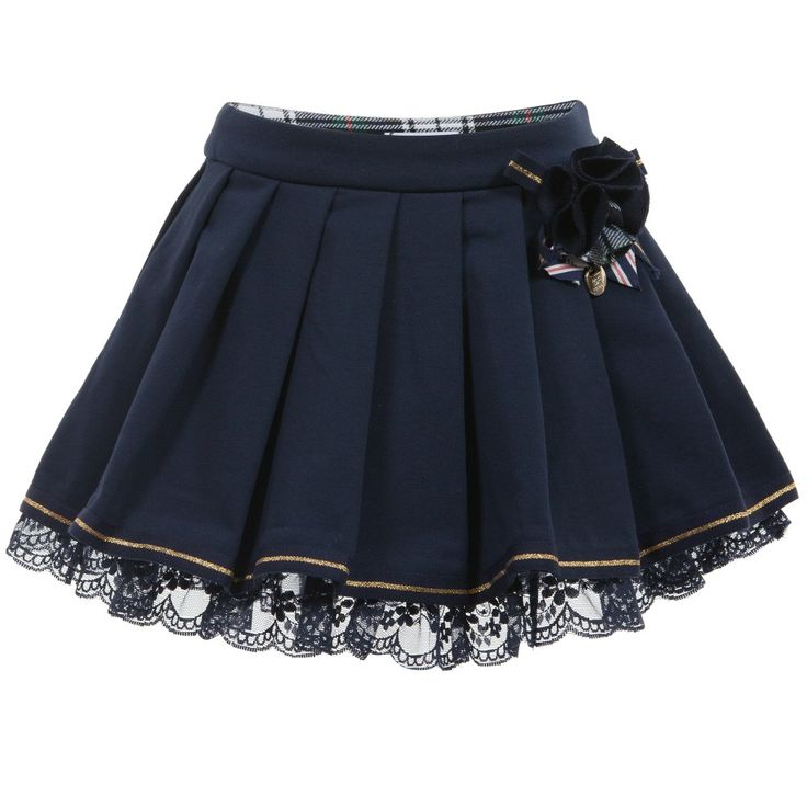 Navy Blue Skirt with Lace Hem & Tartan Brooch, GF Ferre, Girl