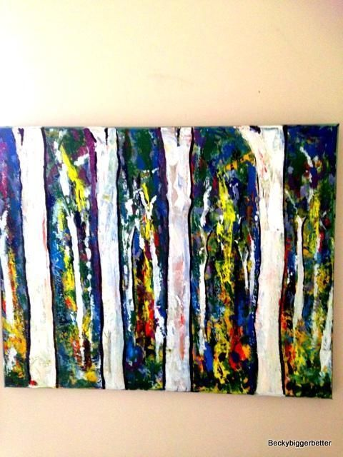 Art Original landscape of Ghost Gum Trees in Australia. My Bush paintings in arcylic paint, vivid colours in our forest.