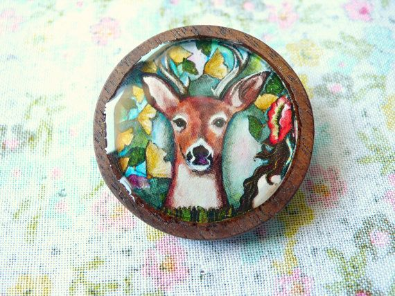 Art Brooch with Wood Frame by TheGypsyTitmouse on Etsy