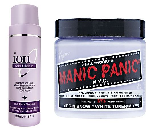 Maintain the blonde without the yellow! Use a very deep purple toning shampoo (i.e. Ion Cool Blonde Shampoo) every other time you shampoo, or more if necessary. Mix a bottle of your favorite conditioner (i.e. Ion Cool Blonde Conditioner) with Manic Panic Virgin Snow toner and use every time you condition. They are vegan!! Leave both shampoo and conditioner mixture in your hair for at least 3 minutes each. You'll see results in 1-3 uses.