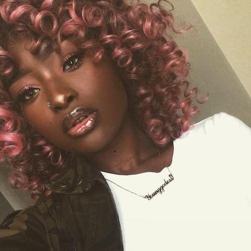pink hair color for dark skin tone