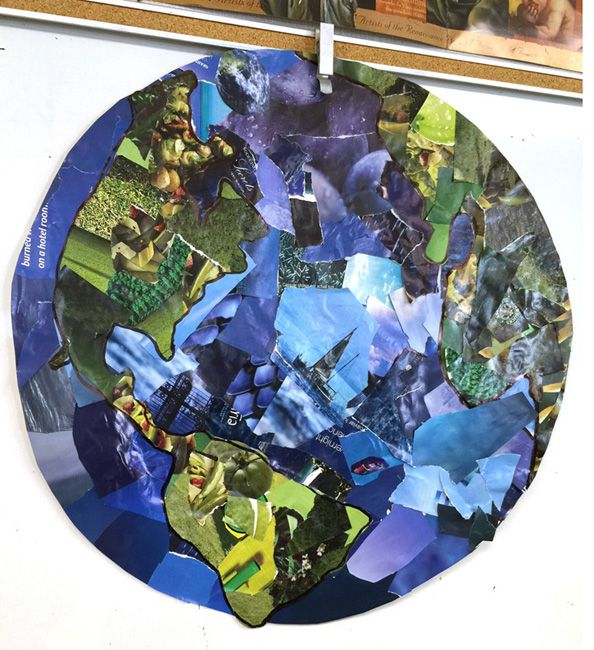 Earth Day Project Idea - Blue Planet Collage - great-looking project from just paper, glue, and old magazine pages, directions – from Art Projects for Kids