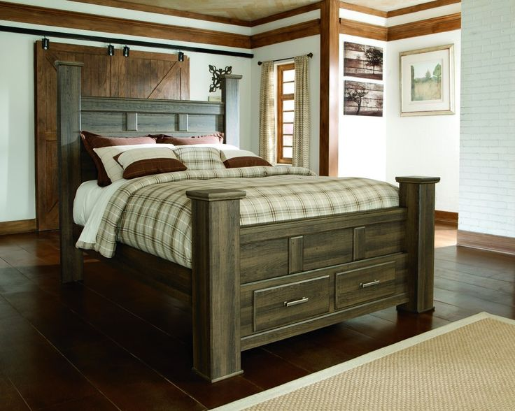 Get the look of posh barn wood without setting foot in a salvage yard. Replicated rough-sawn oak of the Juararo queen poster bed with storage has a vintage finish that is reminiscent of a timeworn fam                                                                                                                                                                                 More