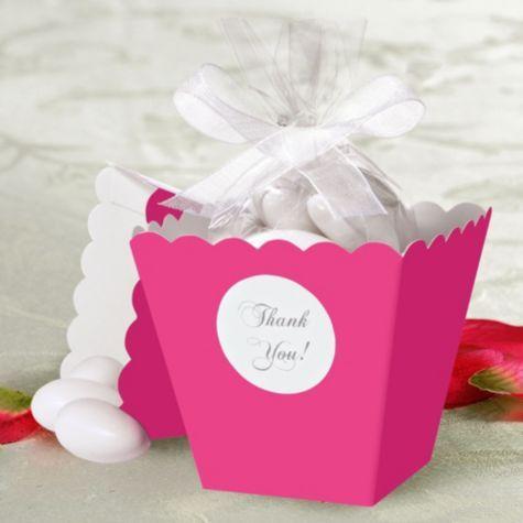 Bright Pink Popcorn Box Wedding Favor Kit Party City