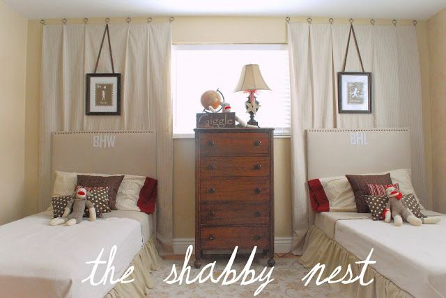 Wendy from The Shabby Nest created this classic sock monkey bedroom for her two little guys. Very classic, serene neutral bedroom with pops of red and brown. Love how the accessories are staged. Check out more fabulous ideas at The Shabby Nest.  It's the retro sock monkey bedroom. Sock Monkey Room Brown suede walls ...continue reading