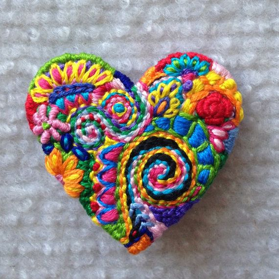 Freeform embroidery heart brooch #75 by Lucismiles on Etsy, $23.00