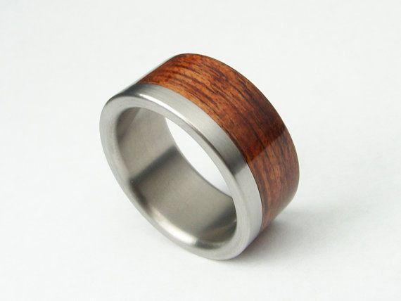 Bent Wood and Titanium Wedding Ring Titanium Stripe by hersteller, $199.00