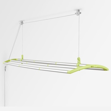 Cool idea.  Indoor clothes line works on a pulley system.  Hang your clothes and then pull it up to the ceiling.