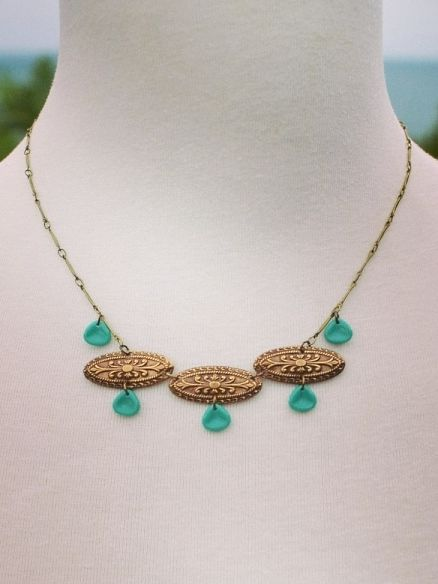 Santorini necklace ~ Czech turquoise with antique brass stampings ~ adjustable length 42-45cm
