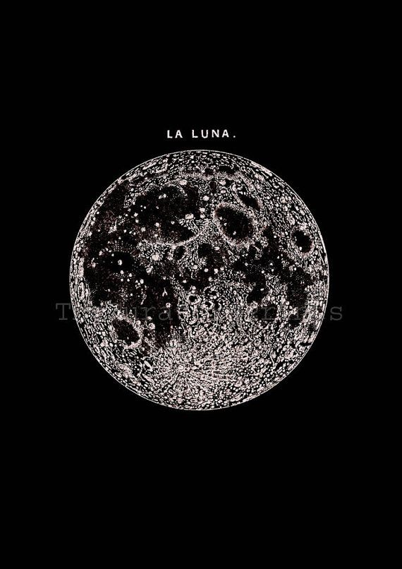 Full Moon in the dark Print Poster, Astronomy Wall Art, Luna, Minimalist Poster, Lunar Moon Print, Vintage Luna, Celestial Dorm Room Art