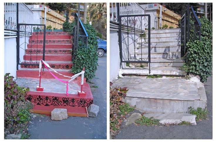 "STAIRS POSTMODERN(ISTINYE)!...    "" I did it!...I did it!..."" (Mr.Higgins / Rex Harrison / MyFairLady / 1963 / The stage: after the ""Grand Royal Ball "" at the Higgins' house… ) Maybe I was not able to lead an artistic work as I dreamt of at the ""school stairs"" (a la Gaudi(!) ; but I was able to plan ; design ; plaster and paint of our own building's main entrance's staires… I project (hope) toachieve teawiking works in a month's time. Here are the evaluating works photos .(I'll add…"