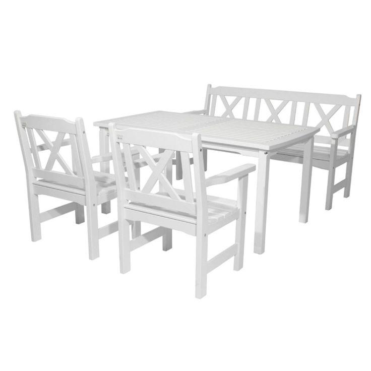 Lyngør spisegruppe, hagegruppe. Hagemøbel - Outdoor furniture from Krogh Design. Heltre spisegruppe malt i hvitt. For mer info og bestilling: www.krogh-design.no/hage