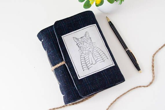 Cat Journal  Hipster Cat Notebook with Unlined Pages by Mettaville