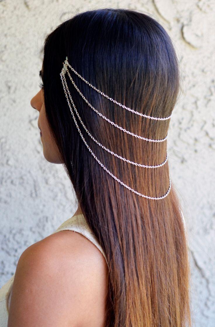 Silver Hair Chain Jewelry Barrette Sexy Head Accessory Boho Coachella Kardashian Head Piece Spring Summer Prom Festival Halloween by NaynaJewelry on Etsy