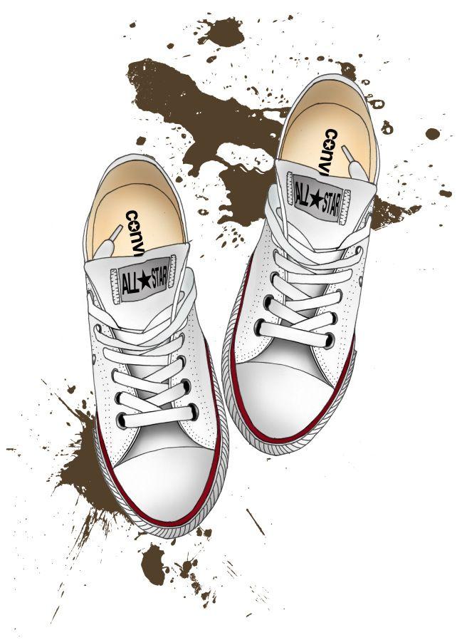 Fashion illustration of muddy converses by Rebecca Elliston aka BeckiBoos