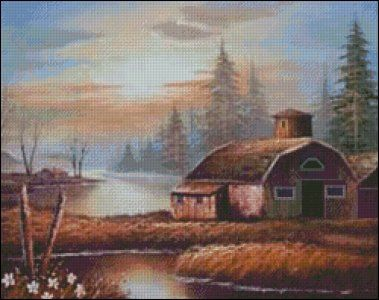 free country barn and house cross stitch patterns | Cottages, Houses and Barns