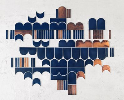 """""""Marquis"""" -tile work. Handmade wall tiles with copper luster decoration. Designed by Laura Itkonen."""