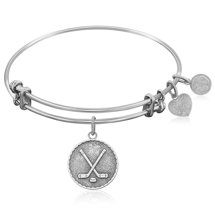 Expandable Bangle in White Tone Brass with Hockey Symbol