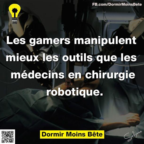 Les gamers manipulent mieux les outils que les médecins en chirurgie robotique.