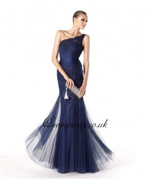 Navy Blue Embroidery Long Prom Dress One Shoulder