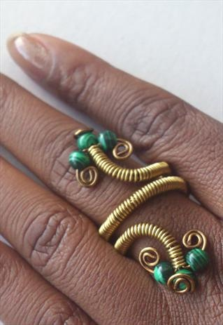 Adjustable Malachite Gem Ring Non Tarnish Brass Wire Wrap