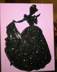 Glitter Disney Princess Silhouettes on Canvas. I'm totally gonna try this.