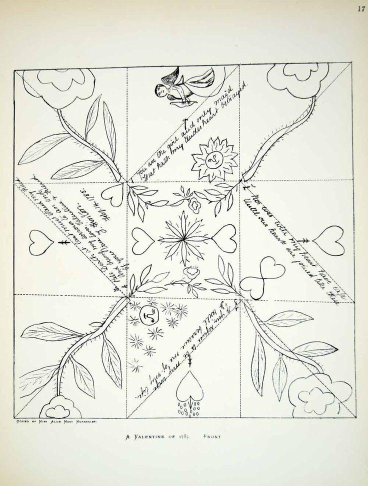 1881 Lithograph Alice M Nunnerley Art Valentines Day Georgian Era Holiday ZZ18