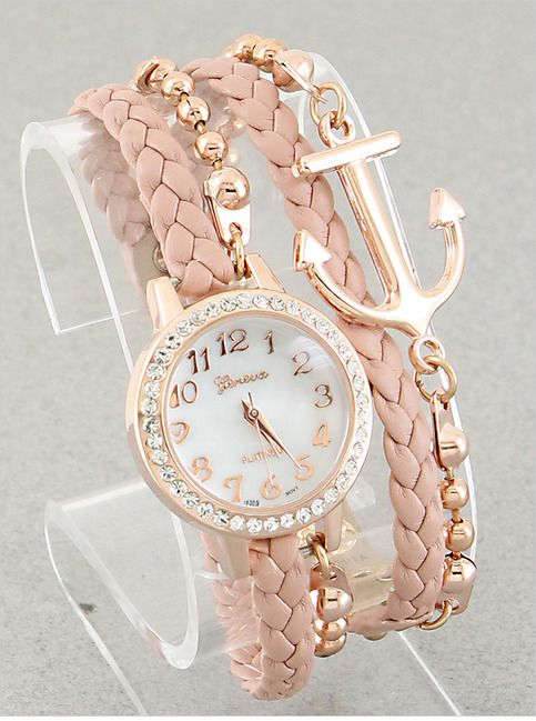 P.S. I Love You More Boutique   Anchor Bracelet Watch in Blush   Online Store Powered by Storenvy