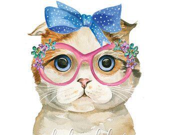 Cat Watercolor Print  Tabby Cat  Cat Art  by DarlingLolaDesigns