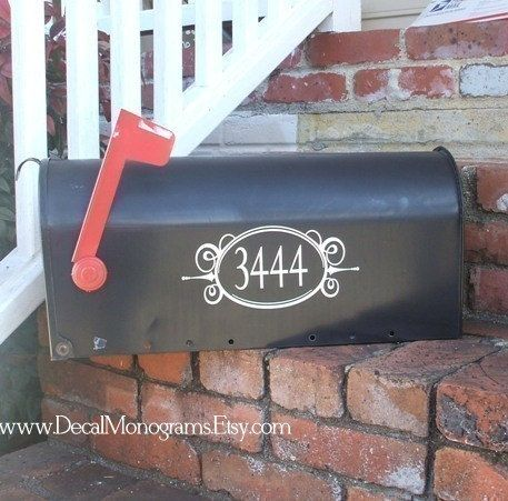 Mail Box Number Oval Vinyl Decal by decalmonograms on Etsy, $6.50
