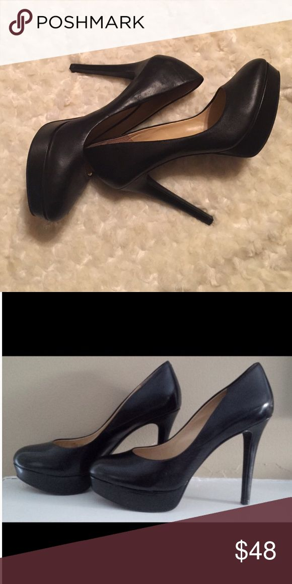"""Classic Platform Pumps Covered platforms with rounded toe, a wardrobe staple for every woman. Heel height approximately 4"""". Leather.  Worn once, in mint condition.  NO TRADES Gianni Bini Shoes Heels"""