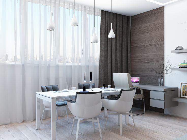 Элегантная светлая обеденная зона для интерьера в мужском стиле.