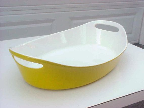 SOLD: THIS ITEM IS SOLD AND IS NO LONGER AVAILABLE.  Beautiful yellow porcelain enamel au gratin pan made by Copco Michael Lax in Denmark. Clean, $35