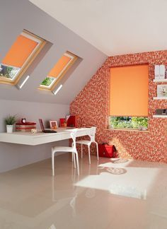 Go orange-tastic with these fab orange roller blinds - keeping the rest of the room neutral and bringing in other orange colour pops throughout helps make the space cohesive, without being overpowering.