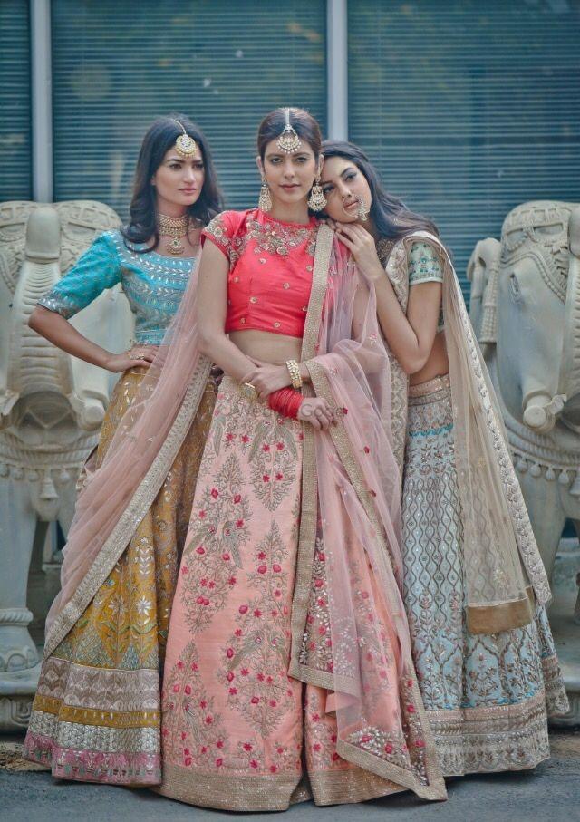 Bridal Wear - The NADIRA collection (Album) | WedMeGood | Pink Ombre Lehenga, Yellow and Blue Lehenga, White and Blue Lehenga #wedmegood #indianbride #Indianlehenga #indianwedding #bridalwear #red #lehenga