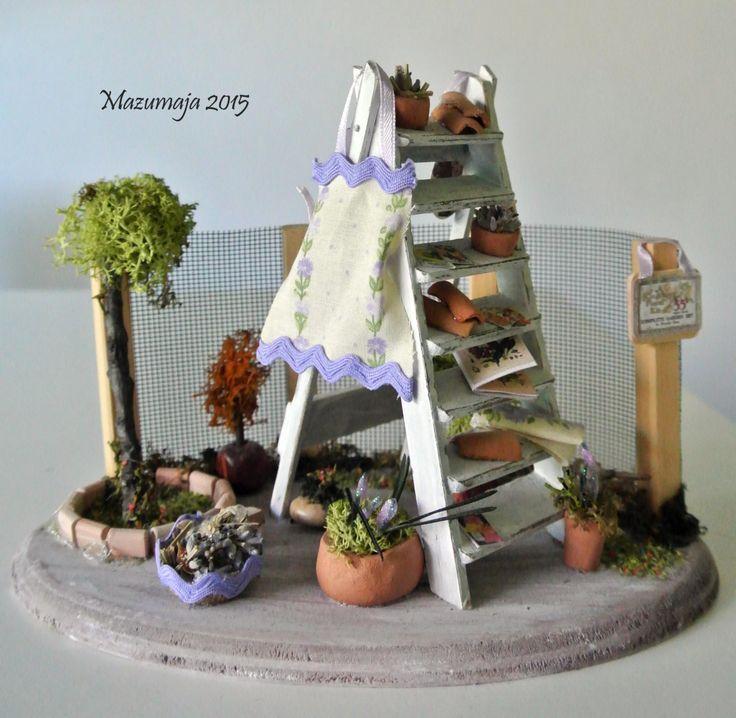 Casa di bambola - Miniatura in scala 1:12 - Giardino Romantico ShabbyChic e lavanda di Mazumaja su Etsy