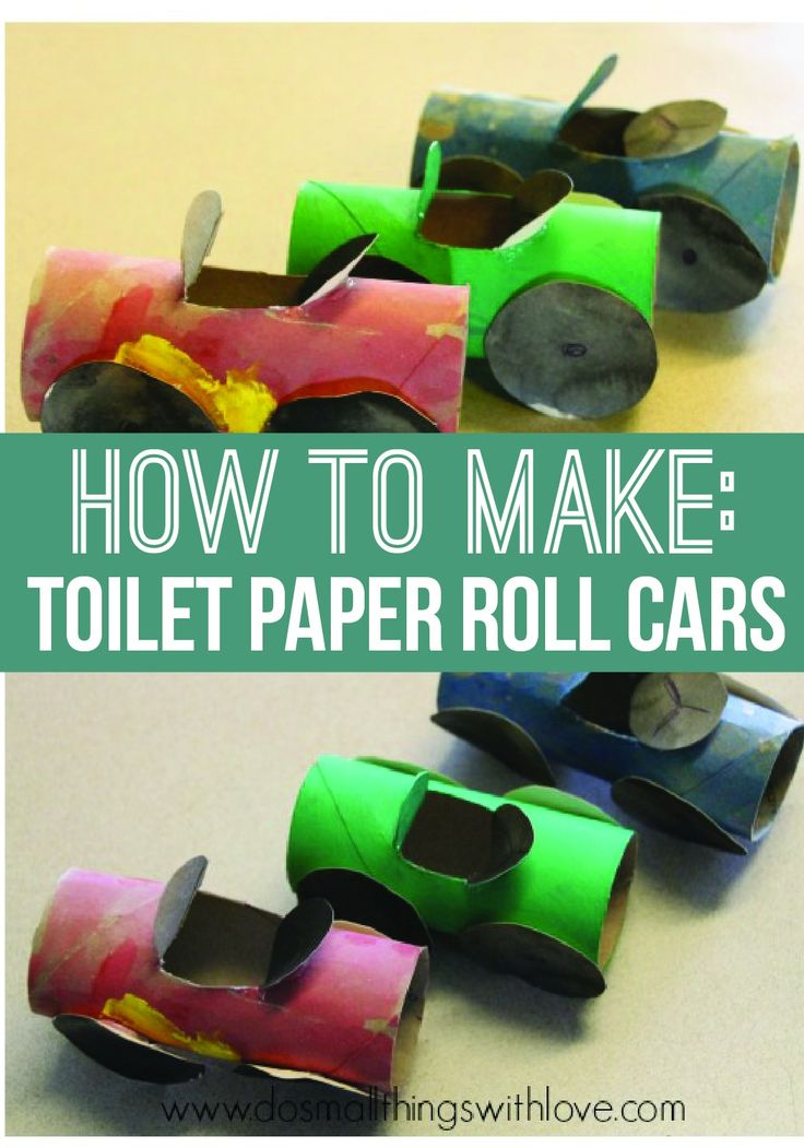 Make and paint your very own car using upcycled toilet paper rolls and spare paper with this fun DIY kid's craft!