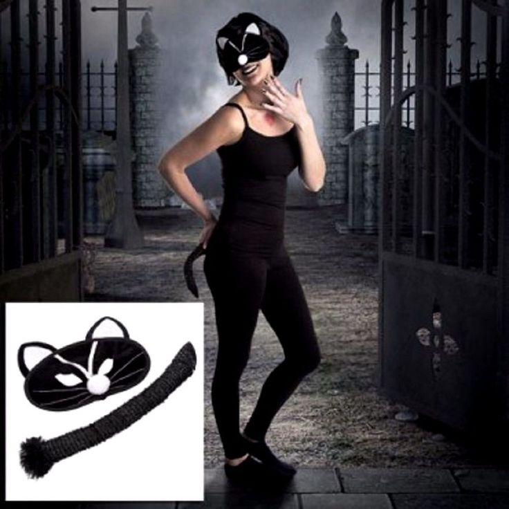 Halloween Prop Cat Lady Mask And Tail Set Party wear Fancy Dress Costume