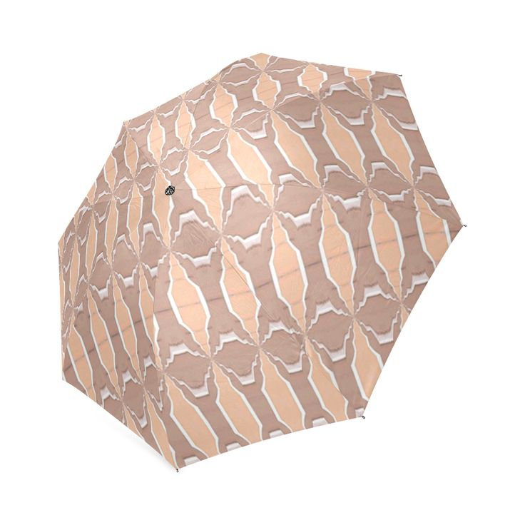 Beige spring  umbrella by Annabellerockz Custom  Auto Foldable Umbrella 01.Umbrella with geometric pattern designs by Annabellerockz