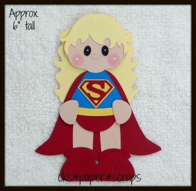 Superwoman Superhero Girl Kid Scrapbook Paper Piecing