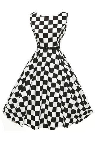 ec3a698c8ac1 Chicloth Stylish 50 s Retro Black White Plain Swing Dress