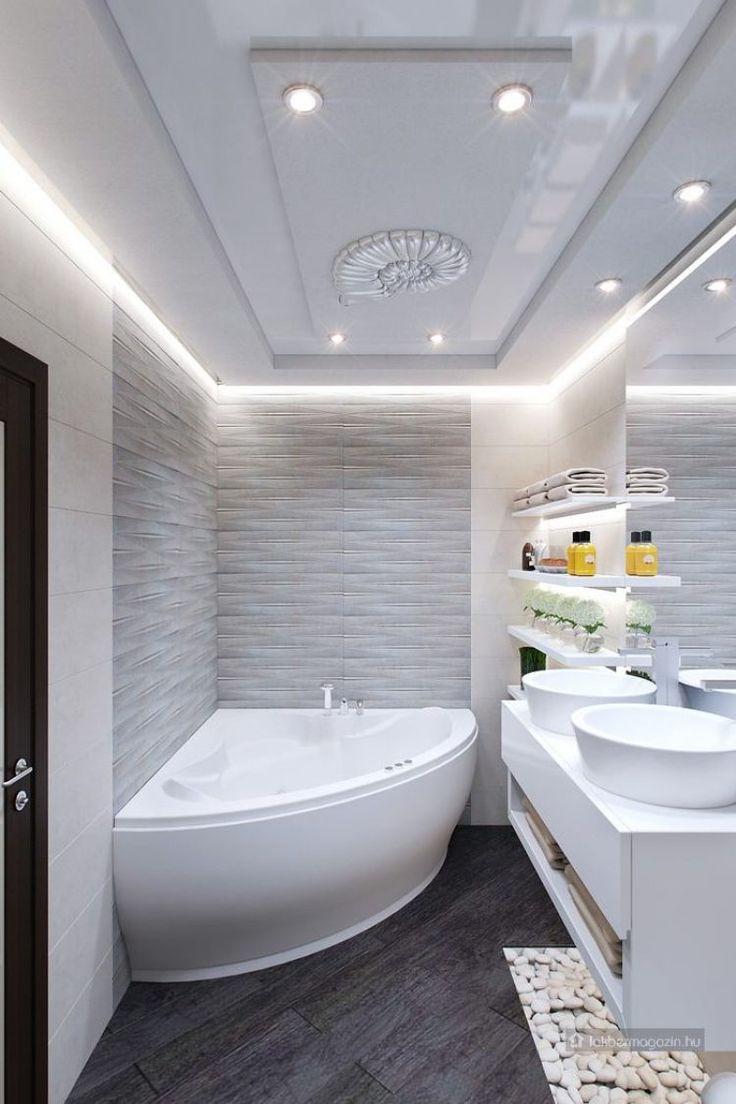 tiszta, világos, spa hangulatot árasztó kis fürdő - letisztult vonalak, szép burkolatok, ötletes világítás - kis fürdőszoba ötletek