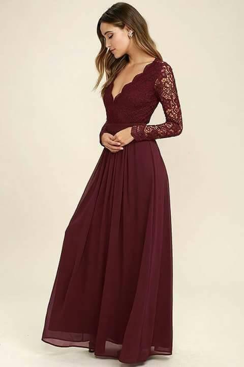 Vestidos de gala y fiesta en color vino tinto