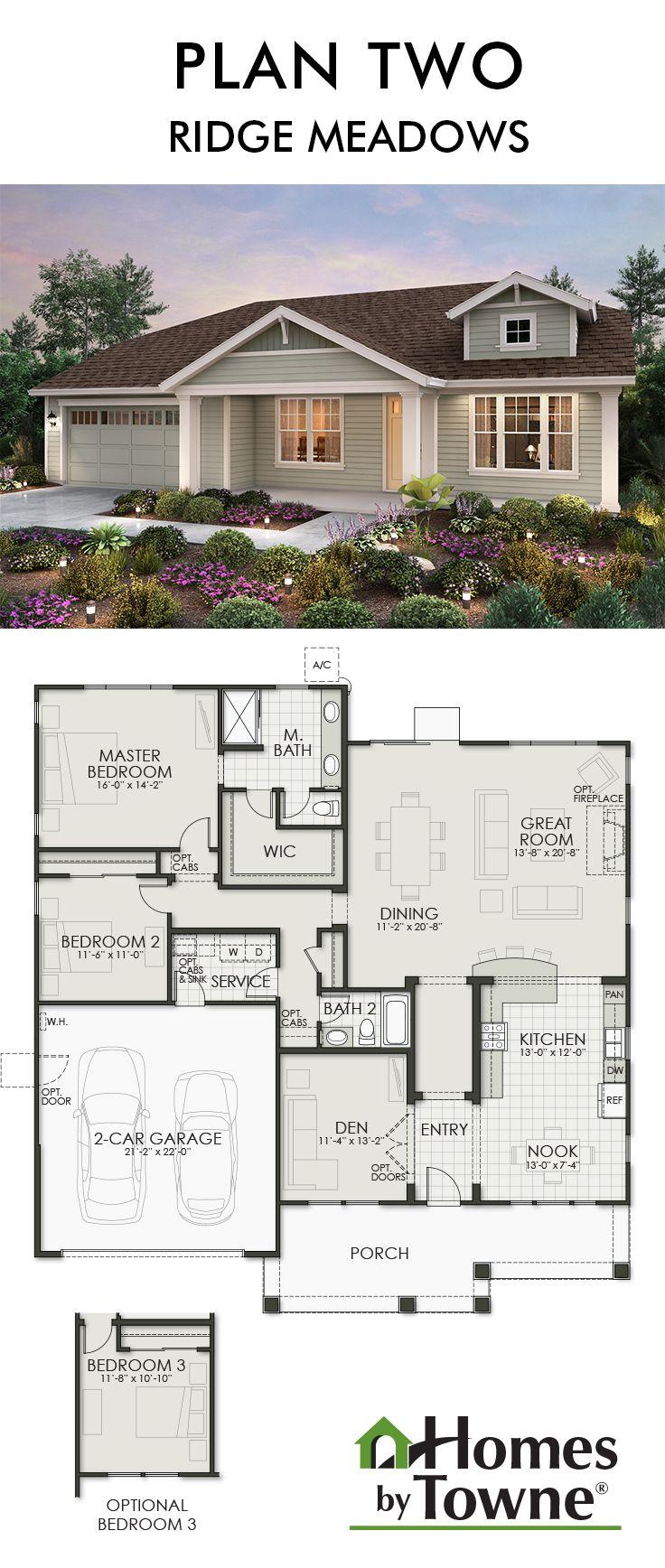 plan two ridge meadows grass valley california homes by towne - California Home Floor Plans