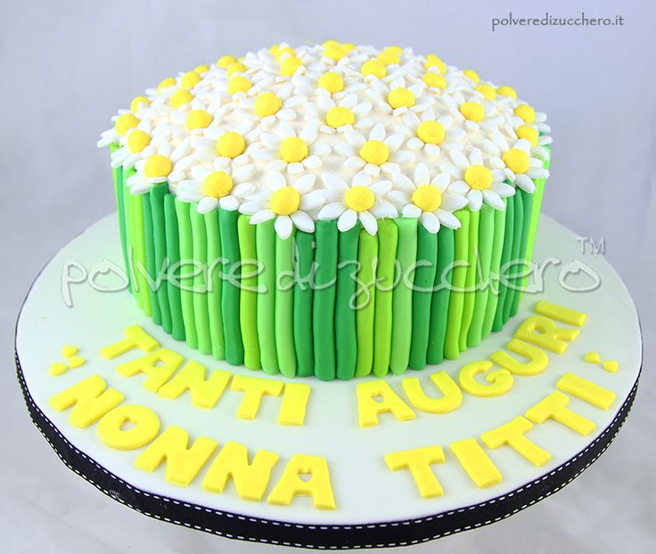 Torta Bouquet di margherite in pasta di zucchero  Cake bouquet of daisies sugar paste
