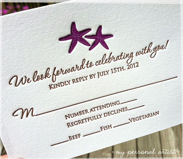 Beach theme plum purple starfish letterpress reply cards with chocolate brown wording. \ MospensStudio.com