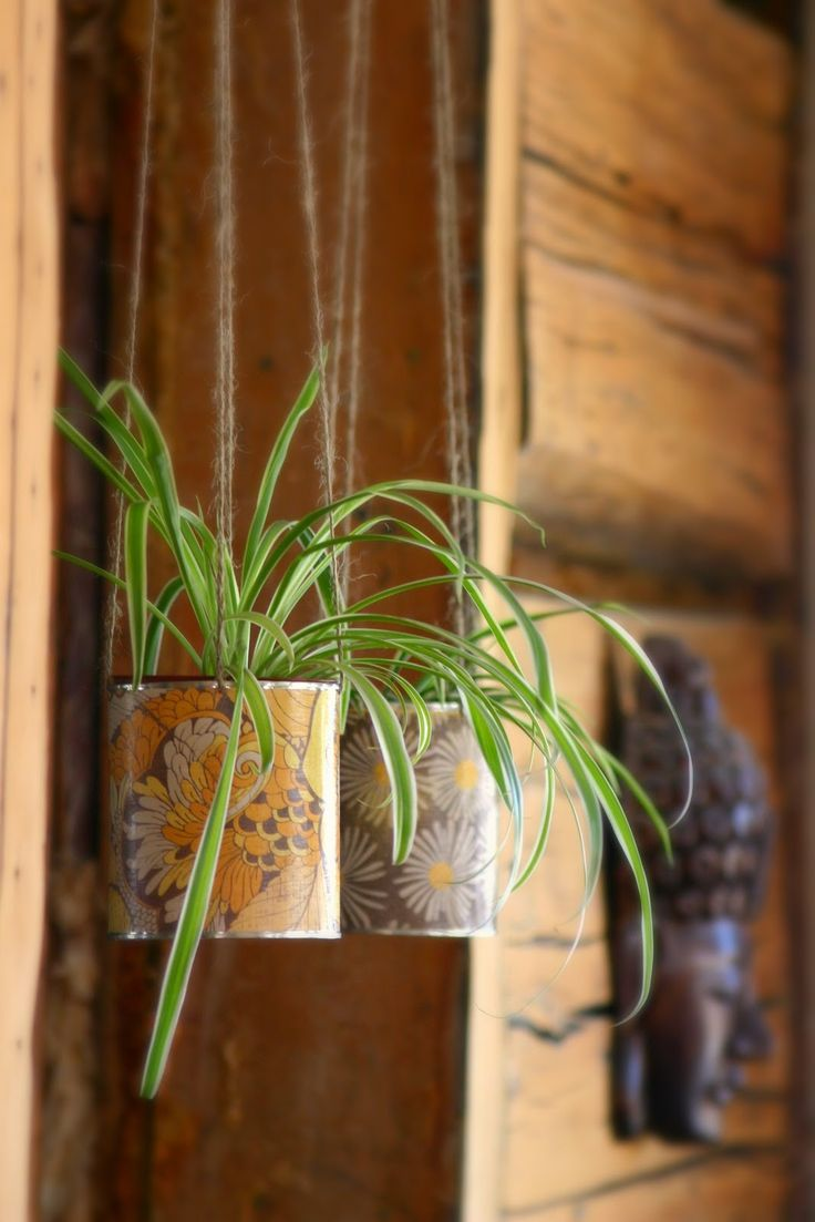 Must do with Laura Ashley wallpaper remnants. Hanging Planter Tutorial by wabisabiwanderings w/ upcycled cans.