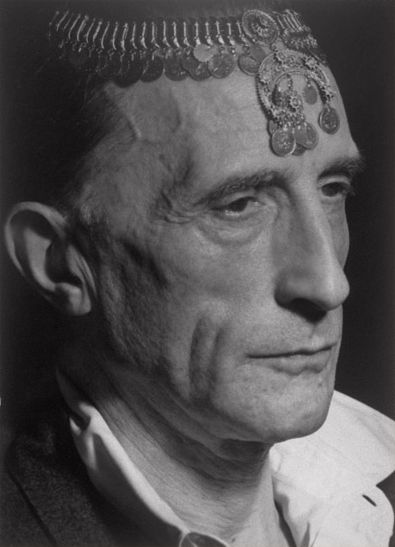 Man Ray, Marcel Duchamp with Turkish Coin Necklace on Forehead, Hollywood, 1949, Gelatin silver print, Image and sheet: 6 5/16 x 4 9/16 inches (16 x 11.6 cm)    Philadelphia Museum of Art
